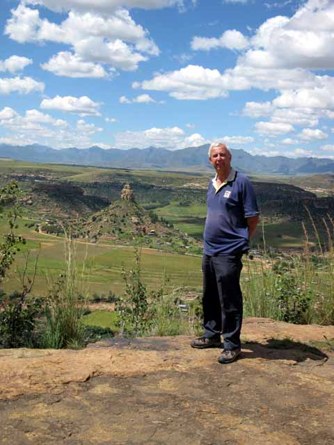 David with the Basotho hat mountain in the background